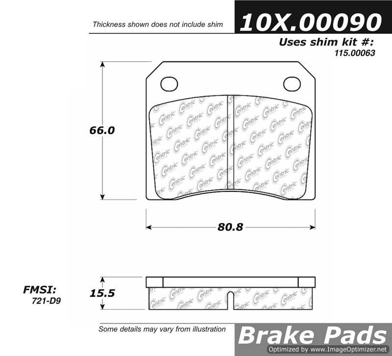 100.00090 OEM Brake Pads Centric Pair