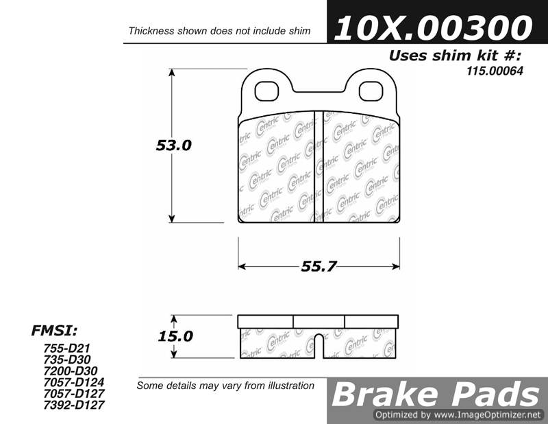 100.00300 OEM Brake Pads Centric Pair