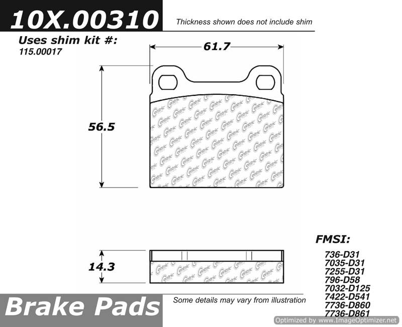100.00310 OEM Brake Pads Centric Pair