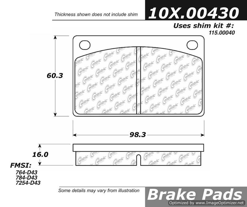 100.00430 OEM Brake Pads Centric Pair