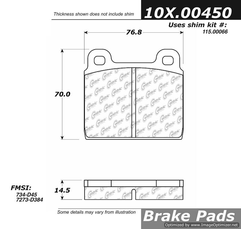100.00450 OEM Brake Pads Centric Pair