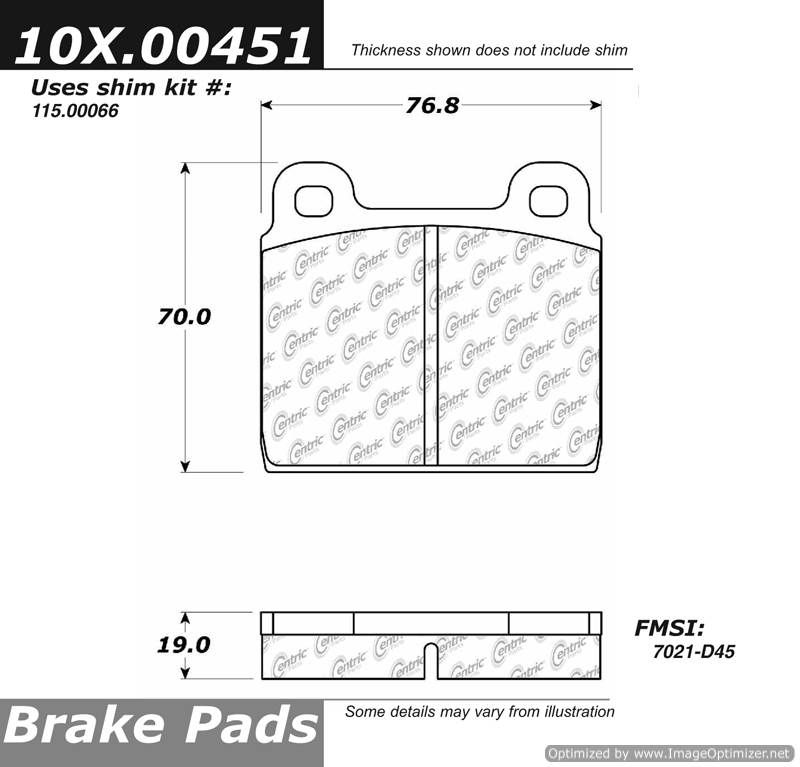 100.00451 OEM Brake Pads Centric Pair