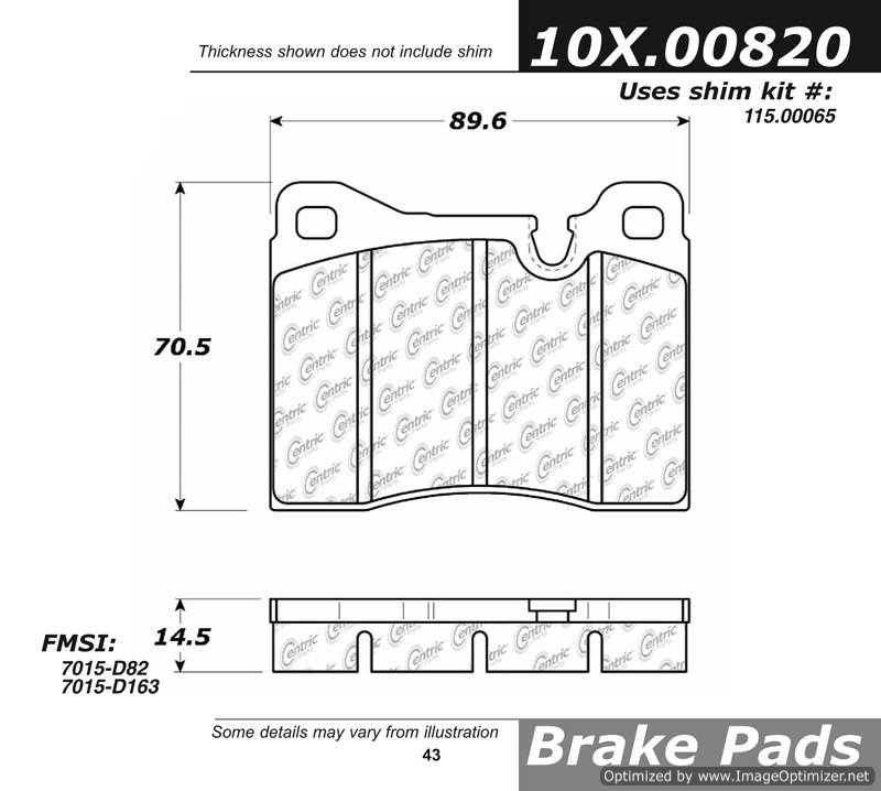 100.00820 OEM Brake Pads Centric Pair