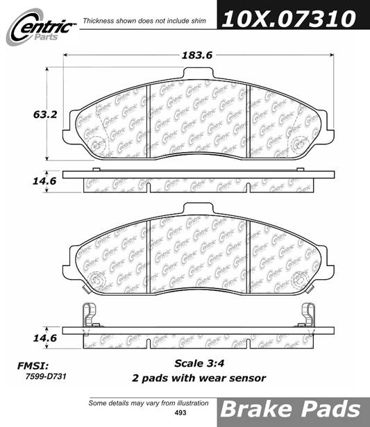 Ceramic 301.07310 Brake Pad Centric